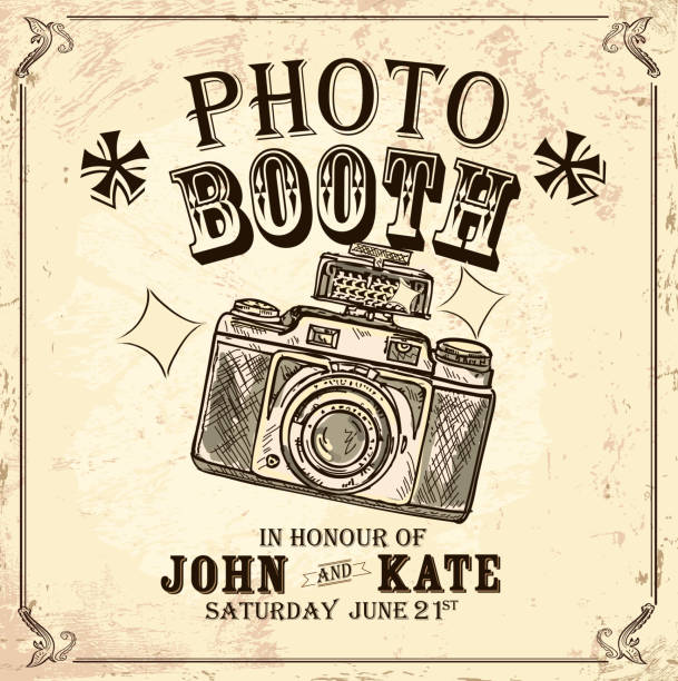 vintage photo booth design template on rough background - photo booth stock illustrations, clip art, cartoons, & icons