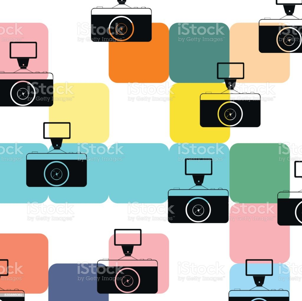 vintage photo camera pattern background color colorful stock vector