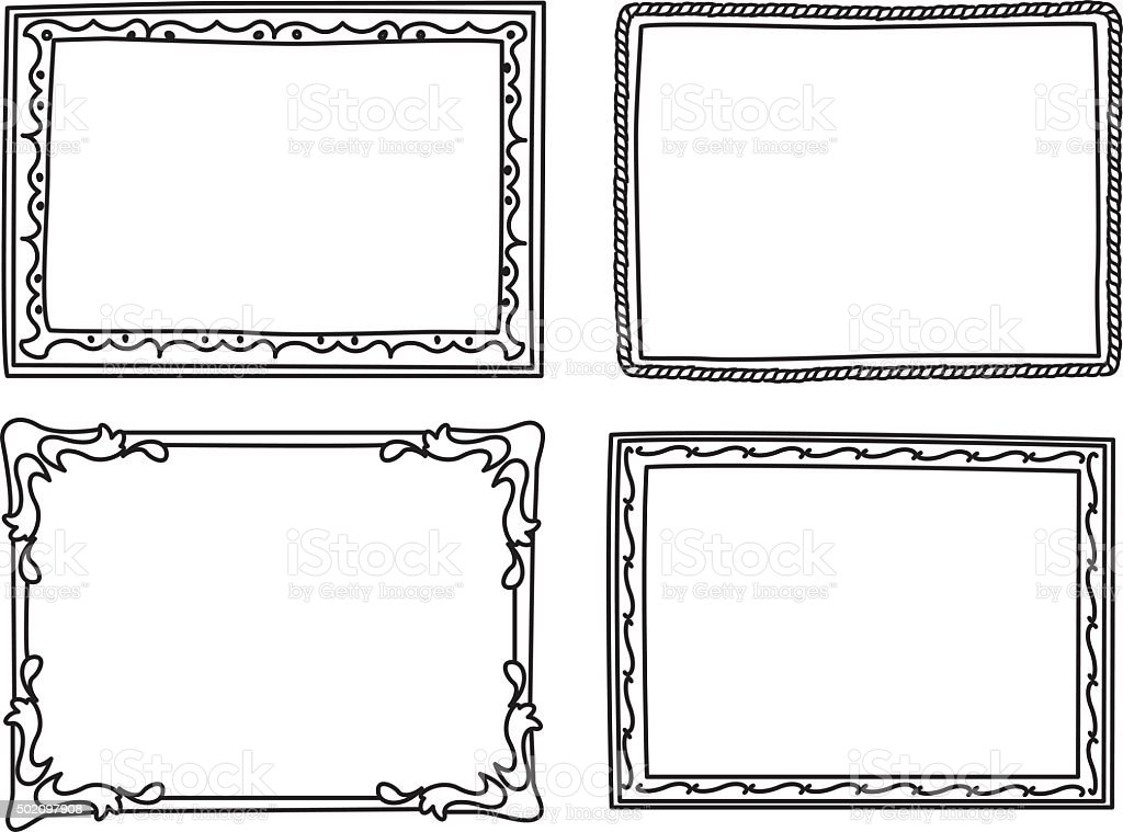Vintage Photo Frame In Doodle Style Stock Vector Art More Images