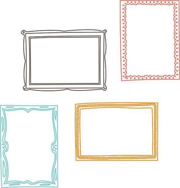 ilustraciones, imágenes clip art, dibujos animados e iconos de stock de marcos de fotos vintage, estilo doodle en - marcos de garabatos y dibujados a mano