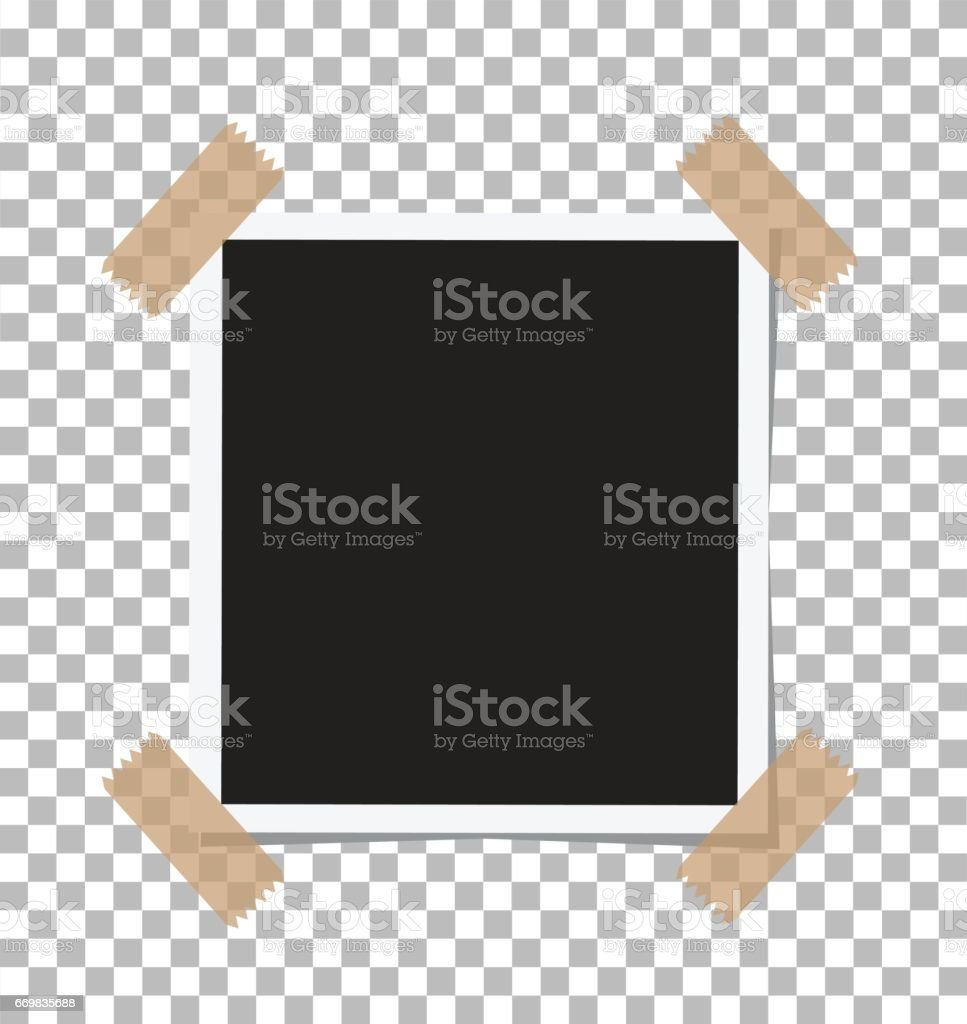 Vintage Photo Frame Sticked on Duct Tape to Background. Retro Photorealistic Photo Frame vector art illustration