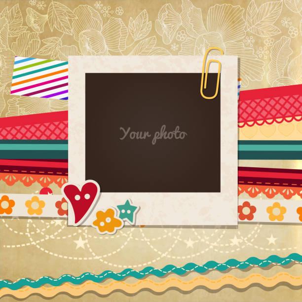 ビンテージ写真フレーム - 家族写真点のイラスト素材/クリップアート素材/マンガ素材/アイコン素材