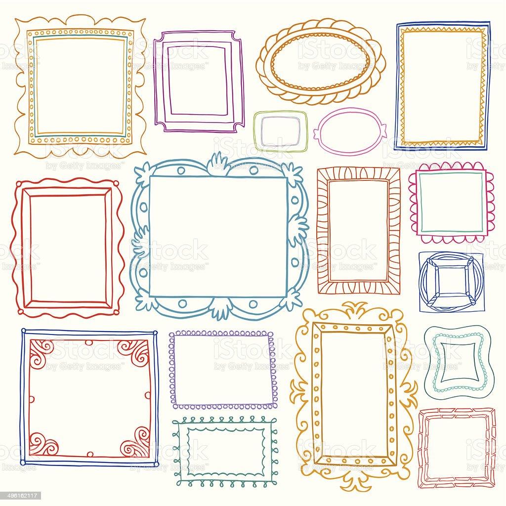 Conjunto de marcos de fotos Vintage, estilo doodle - ilustración de arte vectorial