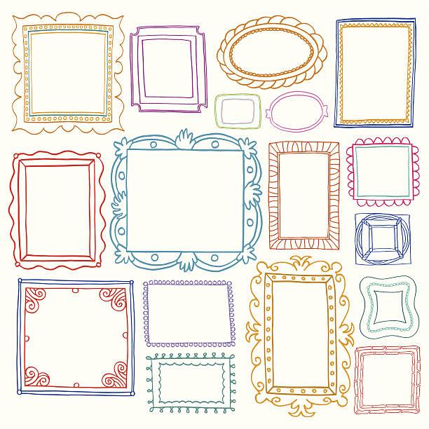 Vintage photo frames set, doodle style Vintage photo frames set, doodle style, ornamental and cute photo colored frames for decoration and design kitsch stock illustrations