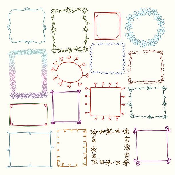 ilustraciones, imágenes clip art, dibujos animados e iconos de stock de conjunto de marcos de fotos vintage, estilo doodle - marcos de garabatos y dibujados a mano