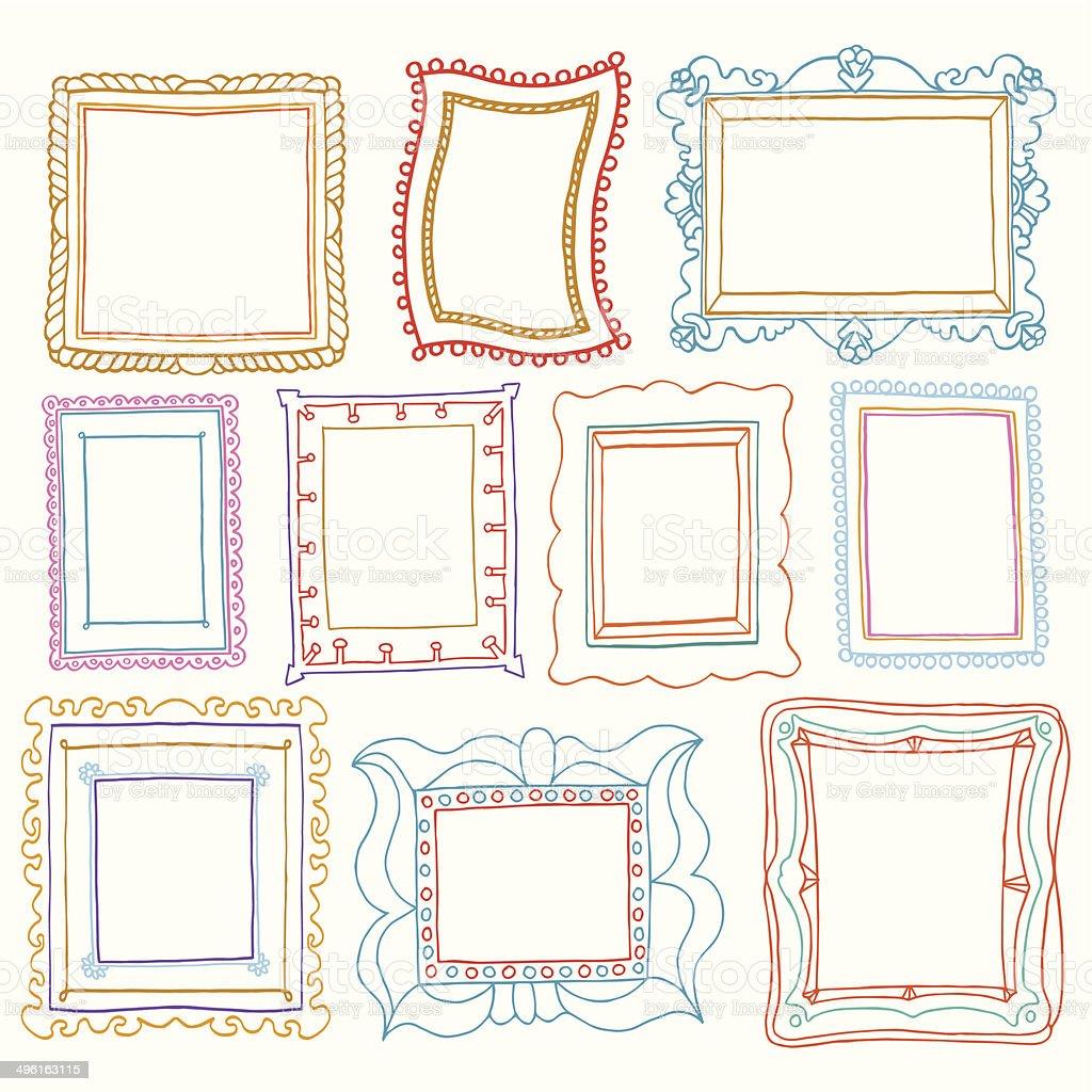 Vintage photo frames set, drawing doodle style vector art illustration