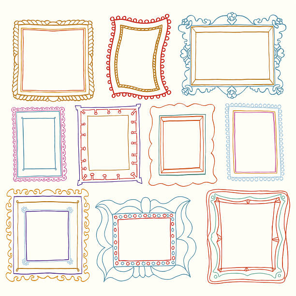 ilustraciones, imágenes clip art, dibujos animados e iconos de stock de conjunto de marcos de fotos vintage, estilo doodle dibujo - marcos de garabatos y dibujados a mano