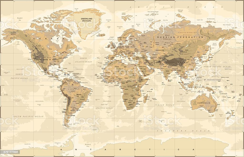 Vintage physical world map stock vector art more images of africa vintage physical world map royalty free vintage physical world map stock vector art amp gumiabroncs Gallery