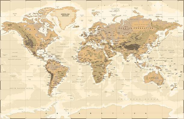 vintage physical world map - ビンテージの地図点のイラスト素材/クリップアート素材/マンガ素材/アイコン素材