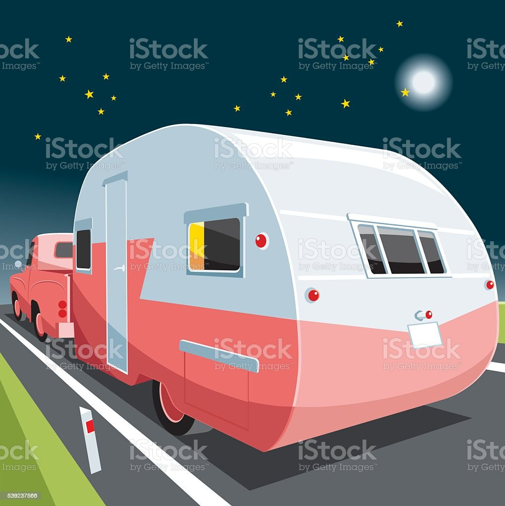 Vintage pickup and caravan royalty-free vintage pickup and caravan stock vector art & more images of camping
