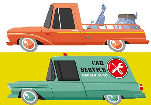 Vintage pickup and repair auto