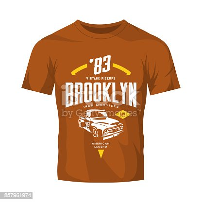 Vintage pickup vehicle vector logo isolated on brown t-shirt mock up.