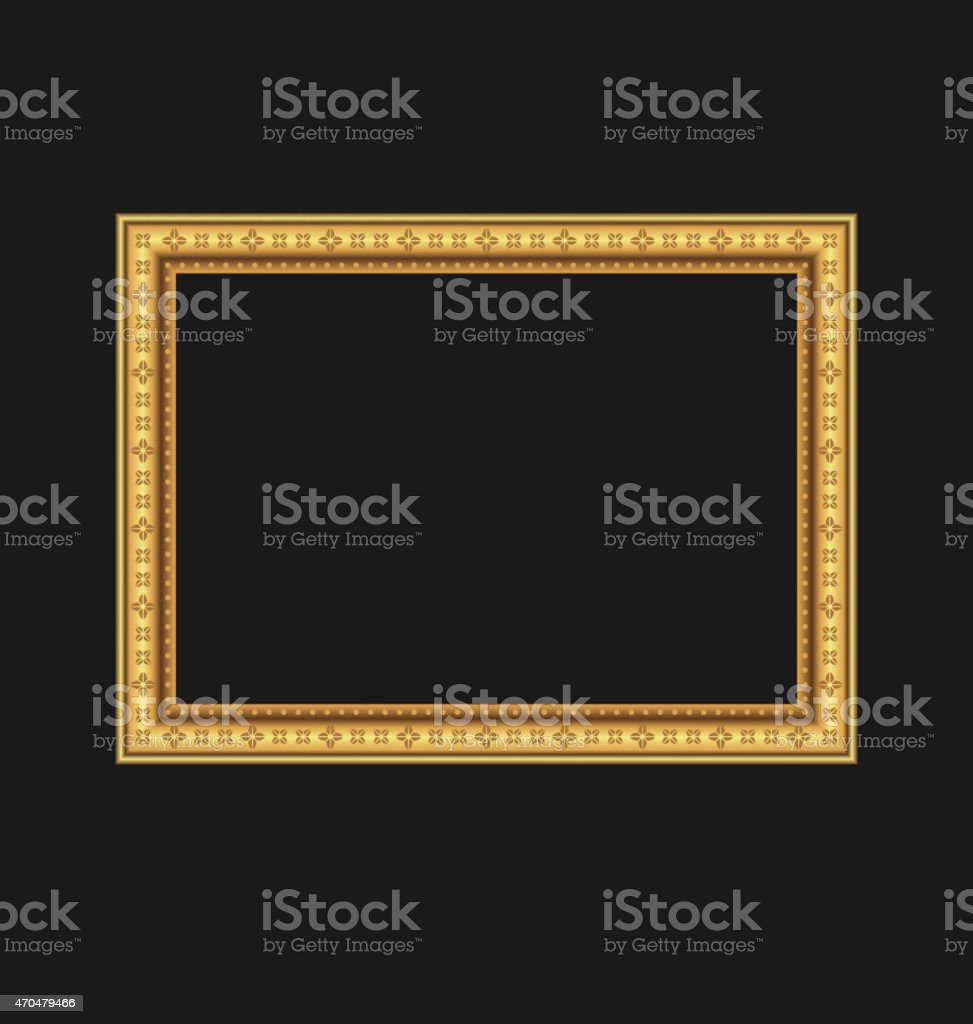 Vintage picture frame isolated on black background vector art illustration