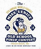 Vintage pin up contest print design
