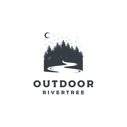 Vintage Pine Forests with River Illustration Hand Drawing symbol Design Vector