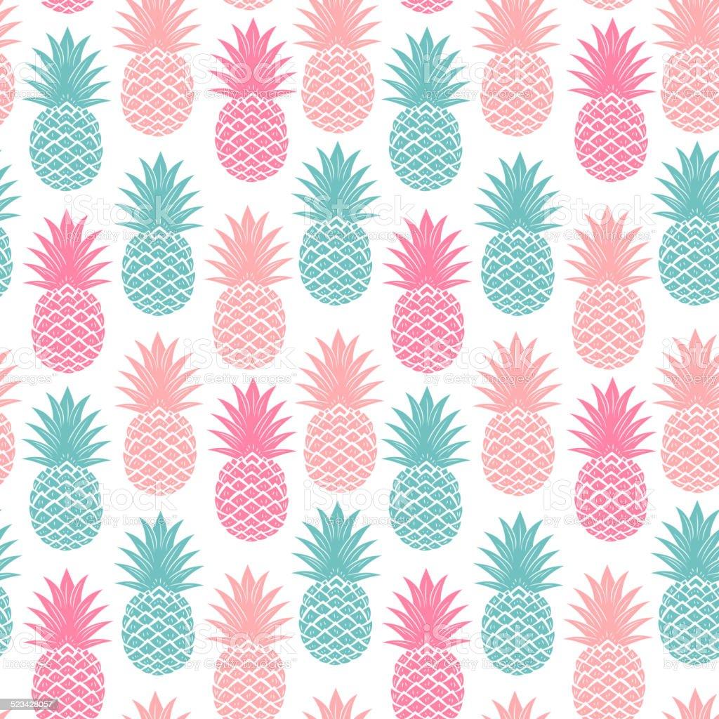 Bezszwowe Vintage Ananas – artystyczna grafika wektorowa