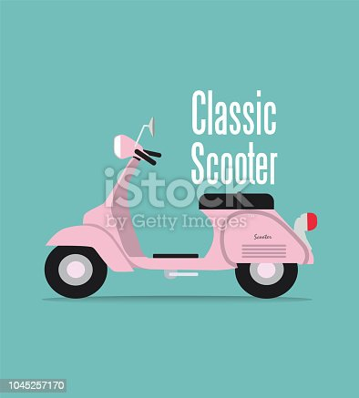 vintage pink classic scooter of Vector Illustration