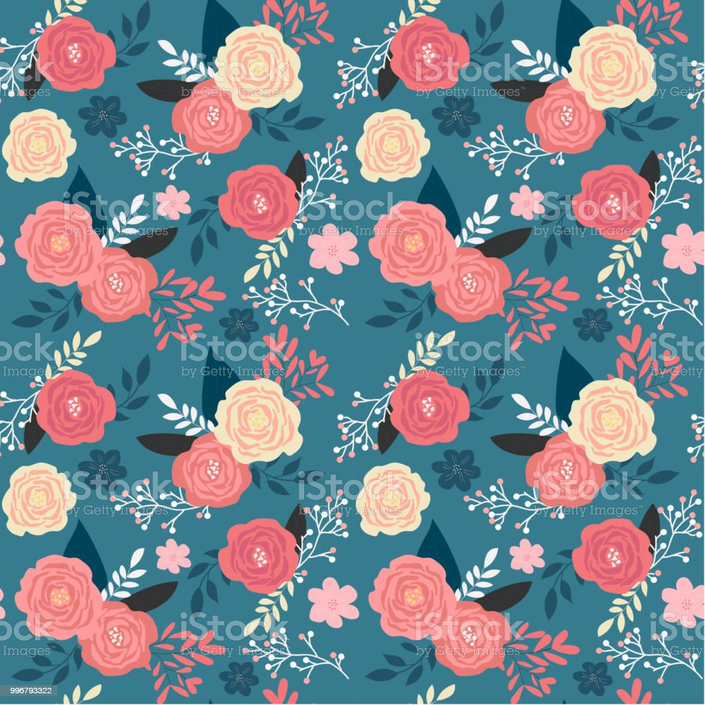 Ilustracao De Vintage Rosa Floral Jardim Sem Costura Padrao Em Fundo
