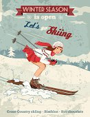Winter sport poster in retro style with pin-up girl and titles. Fully layered EPS 10.