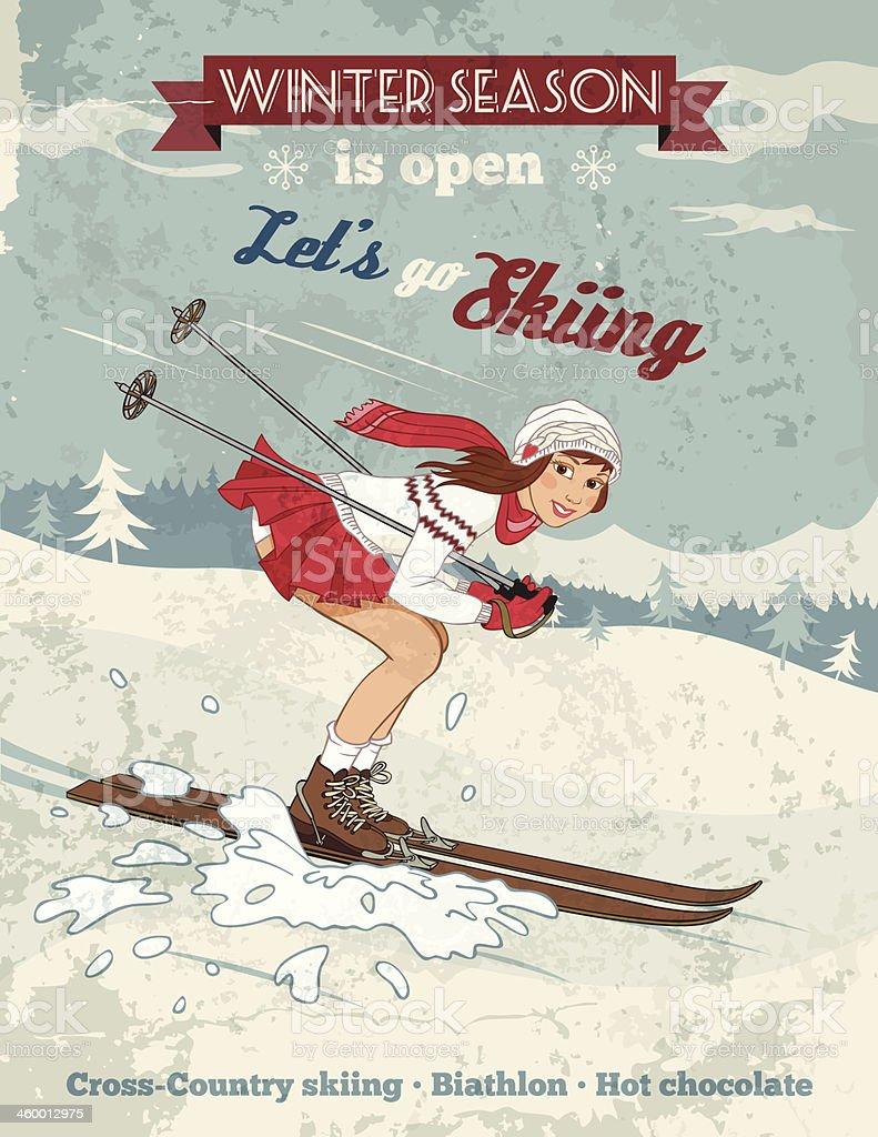 Vintage pin-up girl skiing poster vector art illustration