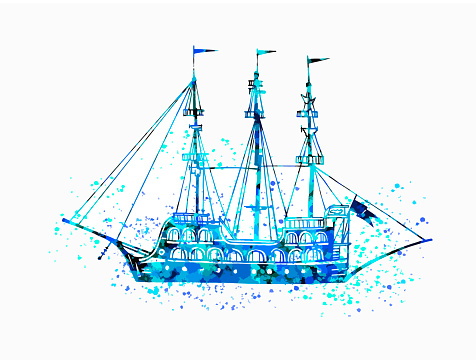 Vintage pirates ship. Boat in blue paint splashes.