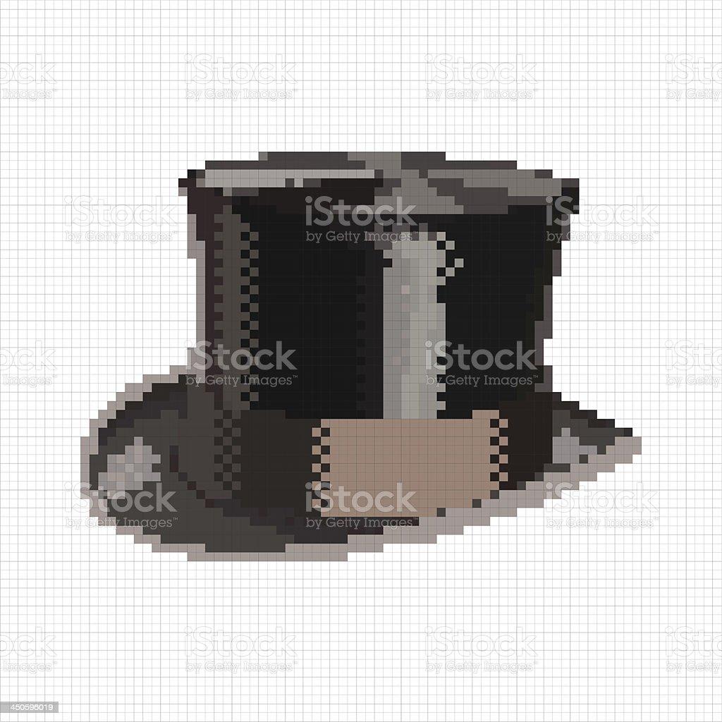Vintage pixel top hat royalty-free stock vector art