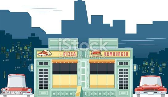 Vintage pizza and burger restaurant