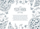 Vintage pizza frame vector illustration. Hand drawn with ink. Pizza design template.