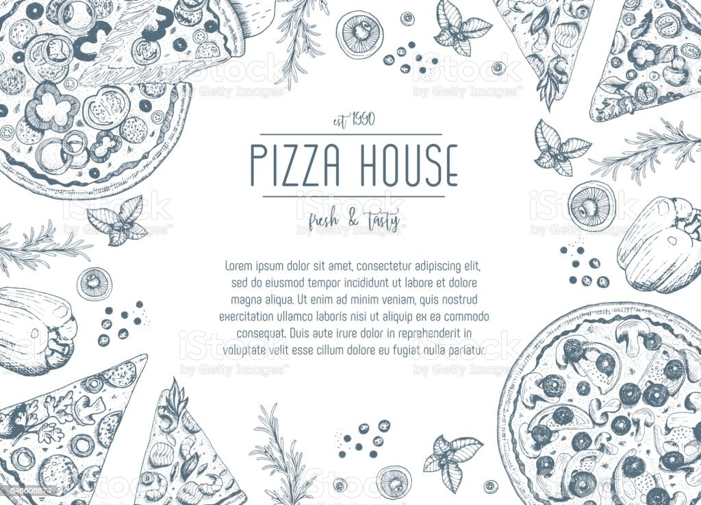 Vintage pizza frame vector illustration. vector art illustration