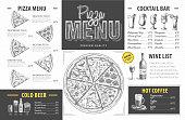 istock Vintage pizza menu design. Restaurant menu 1206269049