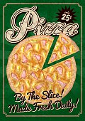 A vintage styled pizza restaurant poster. Grunge texture is transparent and on its own layer so it's easy to turn off.
