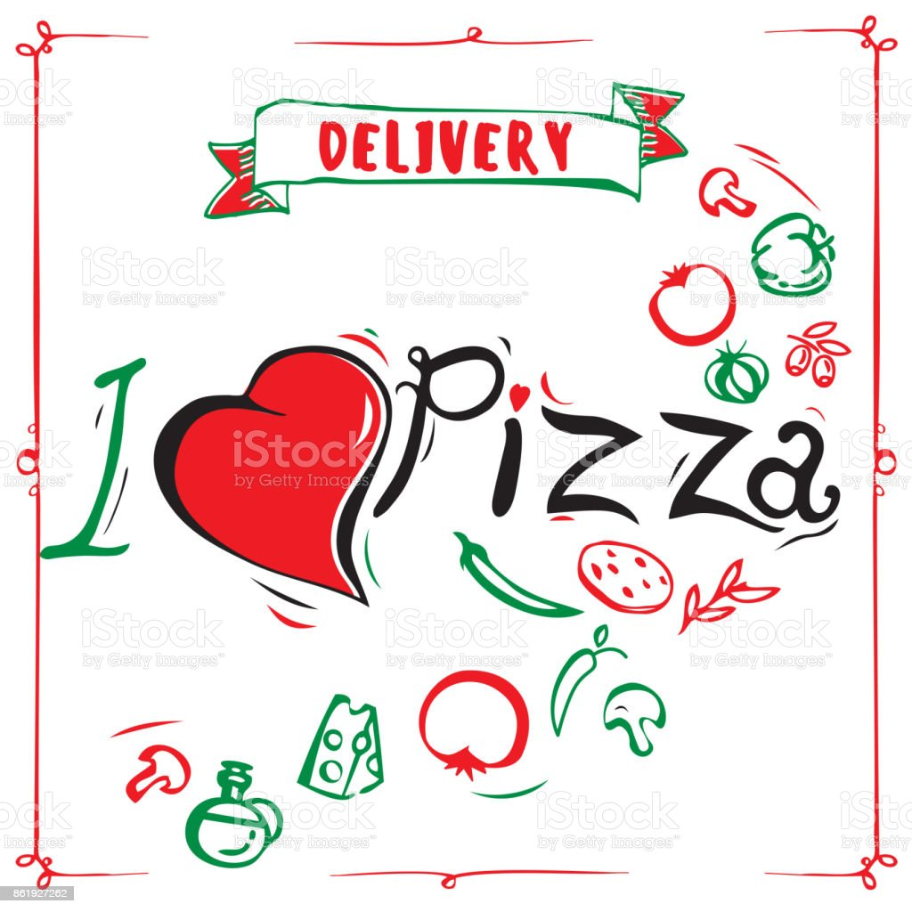 Vintage Pizza Sign Background Template Or Pizza Box Design I Love ...