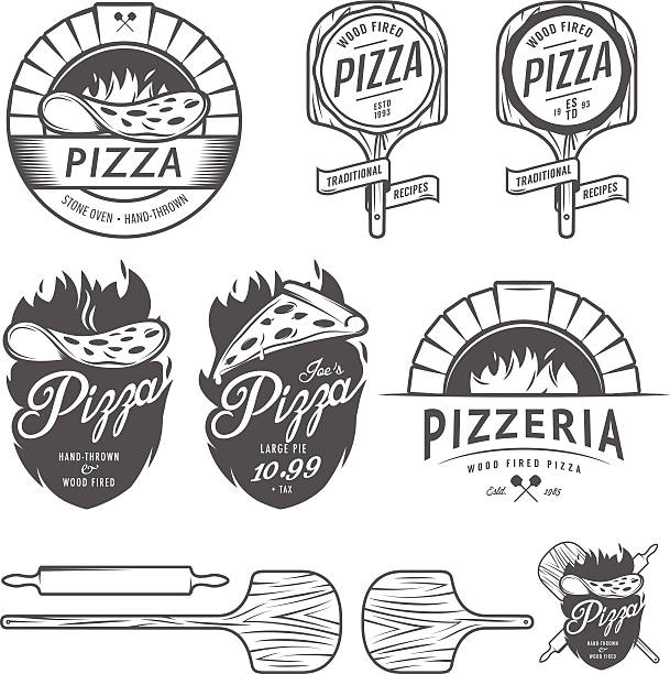 Vintage pizzeria labels, badges and design elements vector art illustration