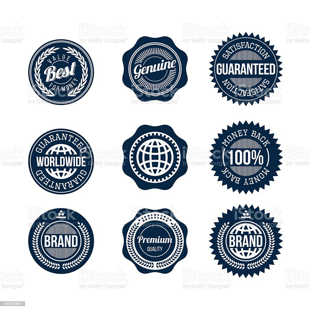 Vintage plain commercial signs and ribbons vector art illustration