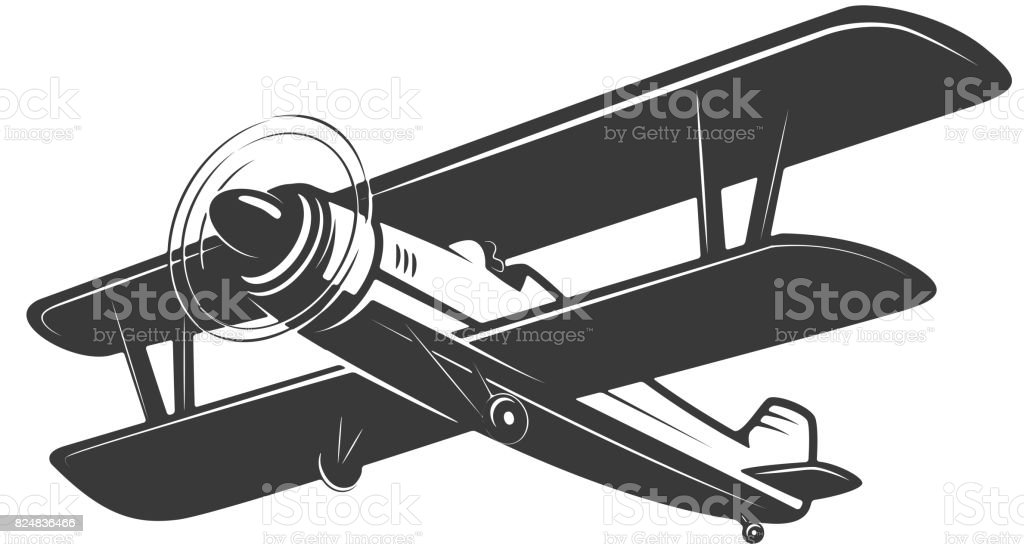 Vintage plane illustration isolated on white background. Design element for label, emblem, sign. Vector illustration vector art illustration