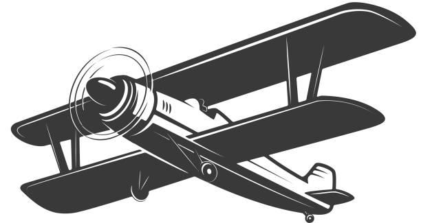 빈티지 비행기 그림 흰색 배경에 고립입니다. 레이블, 상징, 기호에 대 한 디자인 요소입니다. 벡터 일러스트 레이 션 - 복엽기 stock illustrations