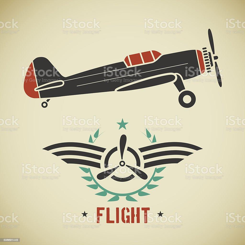 Vintage plane vector art illustration