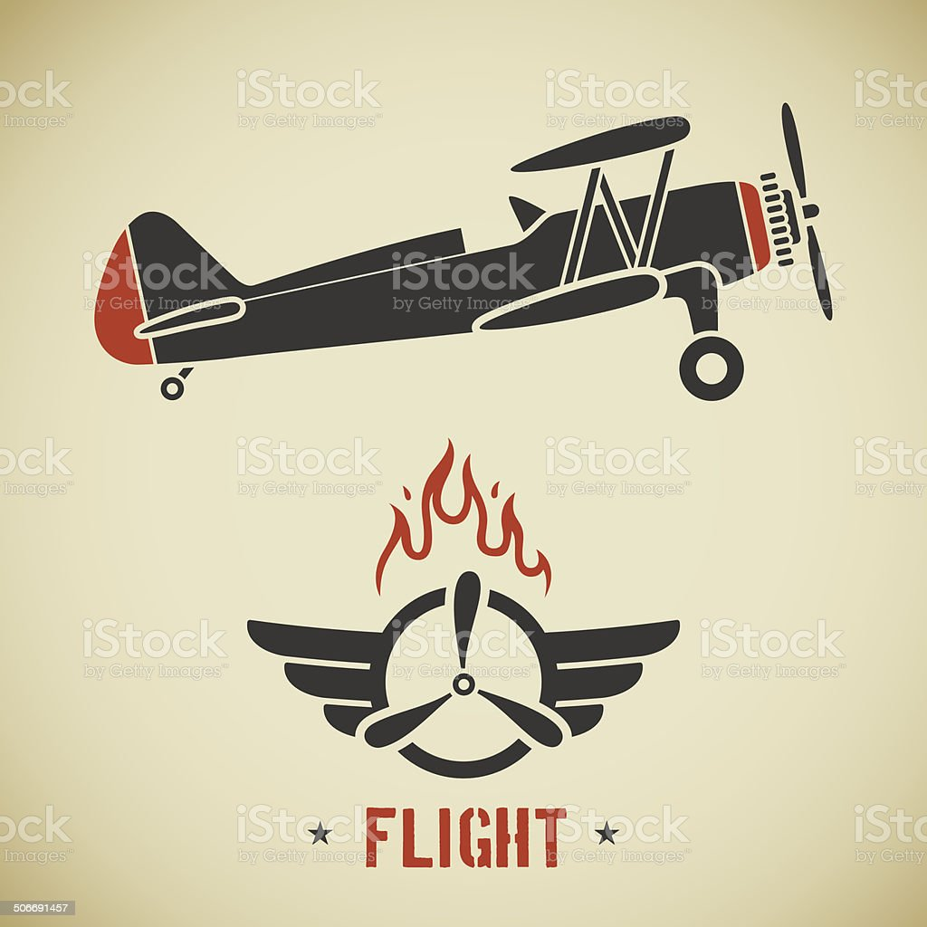 Vintage plane vector art illustration
