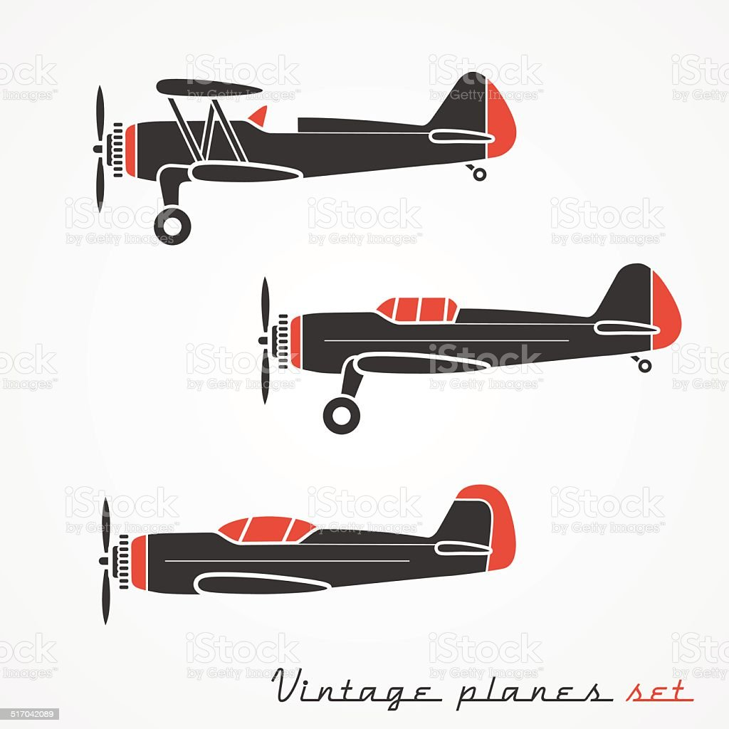 Vintage Planes Set Stock Vector Art More Images Of Abstract
