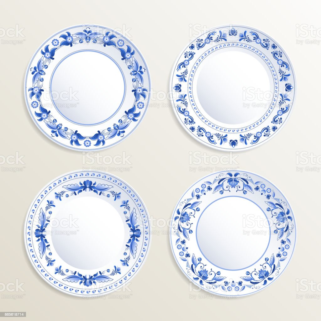 Vintage plates painted at gzhel style. Vector pictures of russian dishes vector art illustration