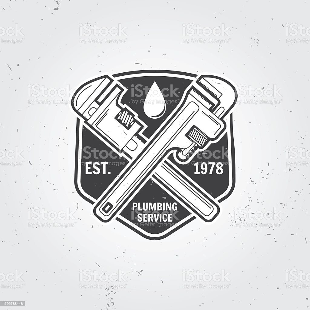 Vintage plumbing service badge, banner or logo emblem. vector art illustration