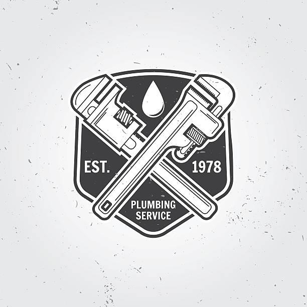 vintage plumbing service badge, banner or logo emblem. - 配管工点のイラスト素材/クリップアート素材/マンガ素材/アイコン素材