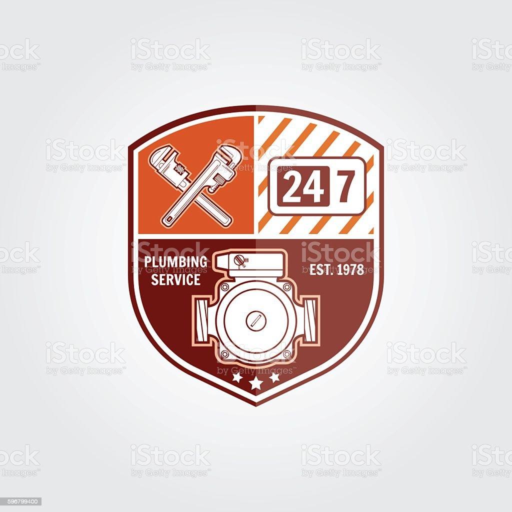 Vintage Plumbing Service Badge Banner Or Logo Emblem Stock Vector ...