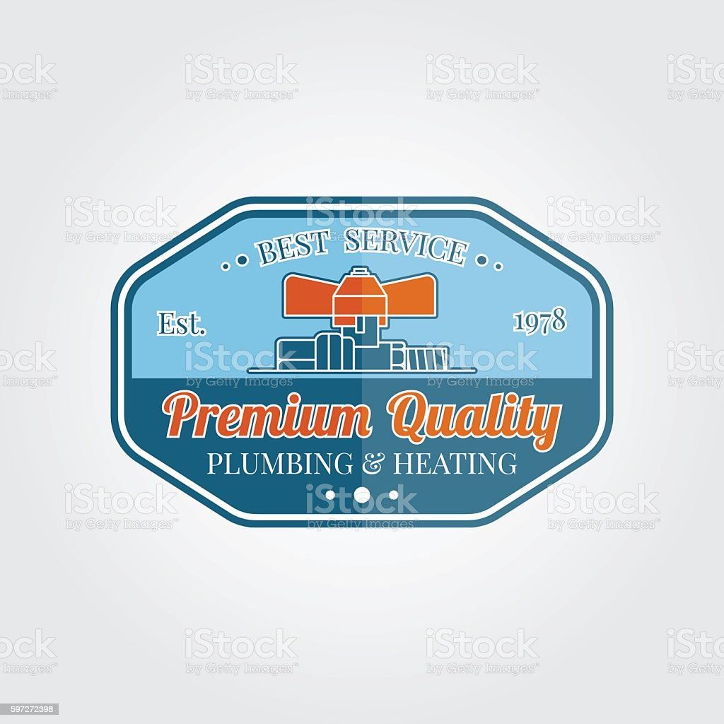 Vintage plumbing service badge, banner or logo emblem. royalty-free vintage plumbing service badge banner or logo emblem stock vector art & more images of accessibility