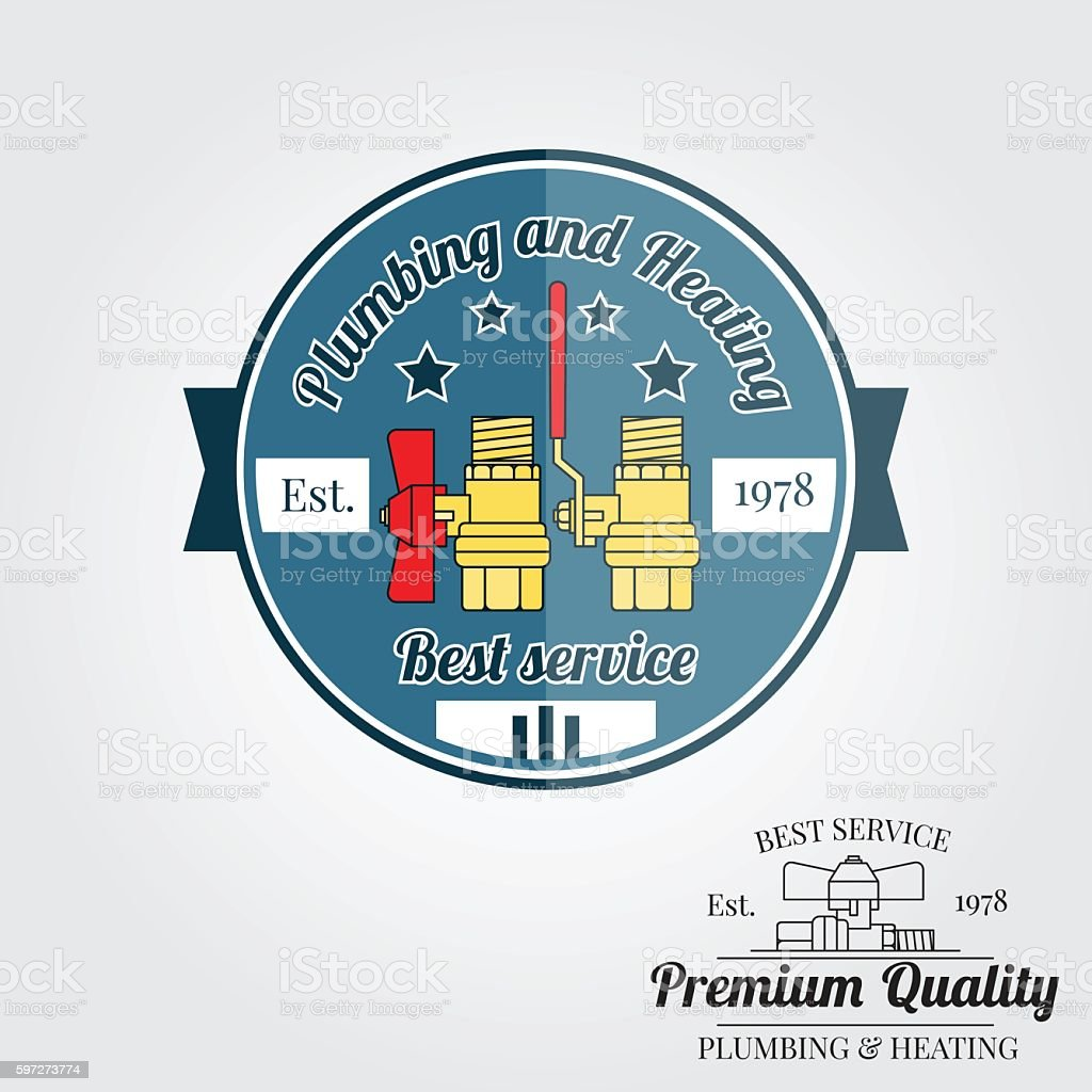 Vintage plumbing service badge, banner or logo emblem. royalty-free vintage plumbing service badge banner or logo emblem stock vector art & more images of business finance and industry