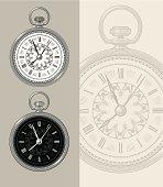 Vintage Pocket Watch - Steampunk vector illustration