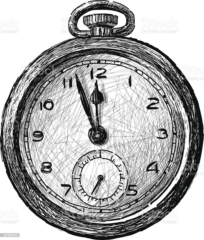 vintage pocket watch vector art illustration