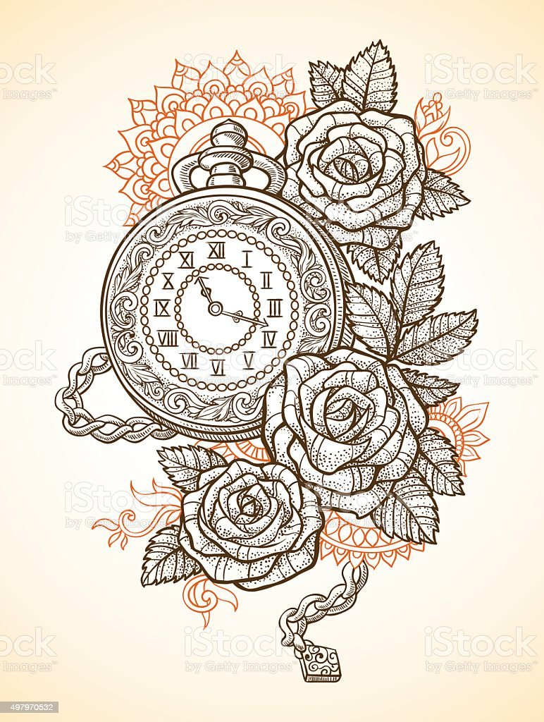 Vintage pocket watch with a pattern in roses and ornaments vector art illustration