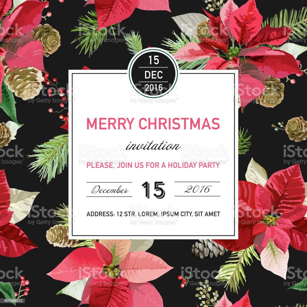 Vintage Poinsettia Christmas Card - Winter Background vector art illustration