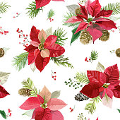 Vintage Poinsettia Flowers Background - Seamless Christmas Pattern - vector